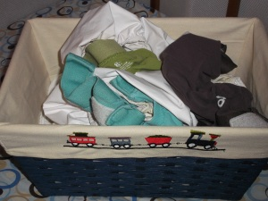 Our diaper cover basket.