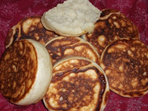 Homemade English Muffins we'll be having for breakfast on weekdays.