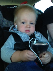As you can see, Eli does pretty good with the traveling, especially when he has his aunt's ipod to watch movies.