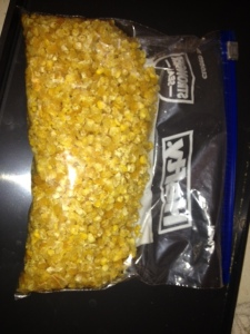 what started as two stuffed sandwich bags of corn ended up as half a bag after dehydration